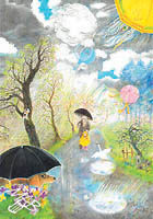 Overall view of the drawing: Spring Shower